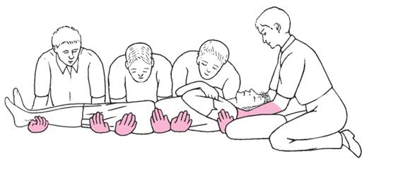 A helyszínen lévő segítségnyújtók tálcafogást alkalmaznak a gerincsérült betegen.